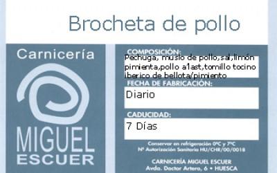 Etiqueta Brochetas de pollo