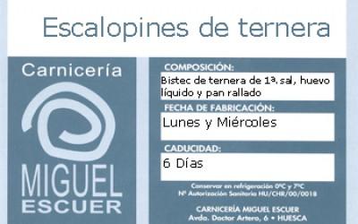Etiqueta Escalopin de ternera