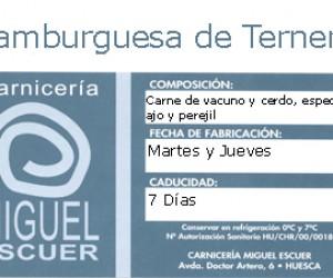 Etiqueta Hamburguesa de Ternera