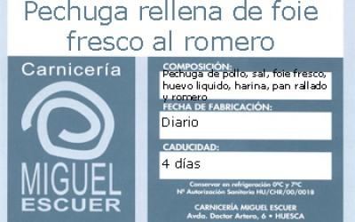 Etiqueta Pechuga rellena de foie