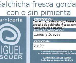 Etiqueta Salchicha Fresca